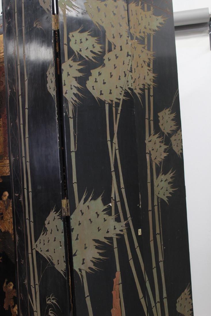 Oversized 12-Panel Oriental Ebonized Screen - 9