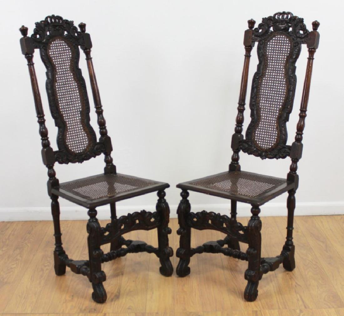 Pair Renaissance Style Highback Chairs
