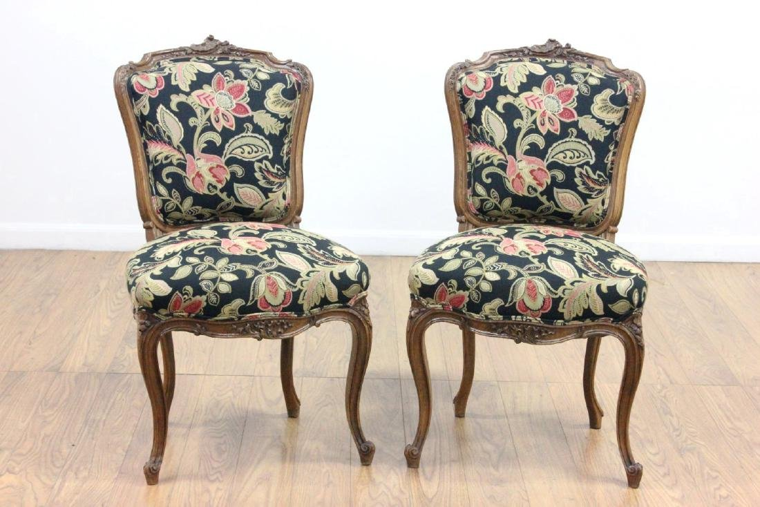Pair French Louis XV Style Side Chairs
