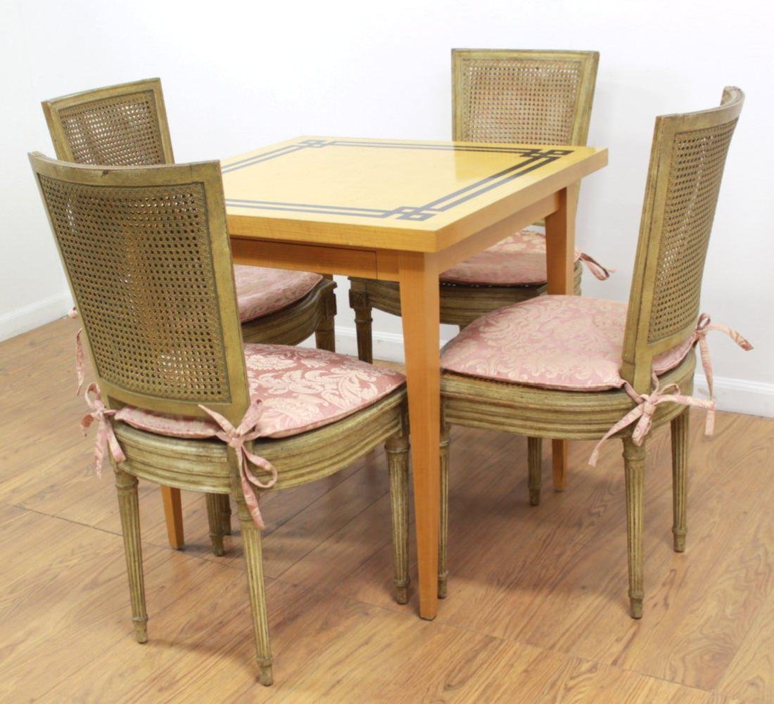 4 Cane Back Off-White Chairs & Card Table