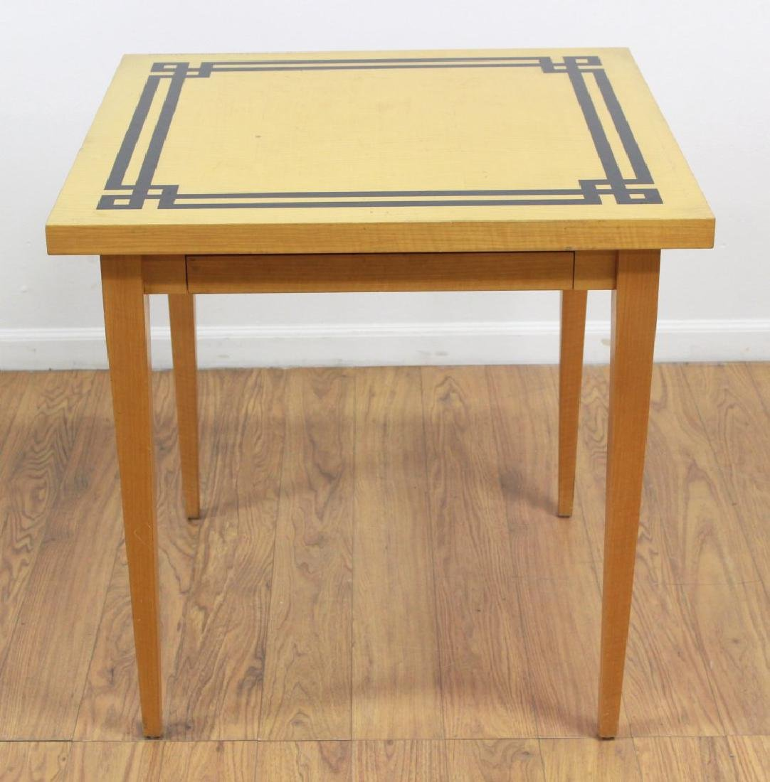 4 Cane Back Off-White Chairs & Card Table - 2