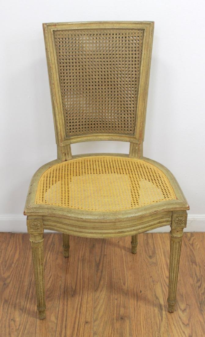 4 Cane Back Off-White Chairs & Card Table - 4
