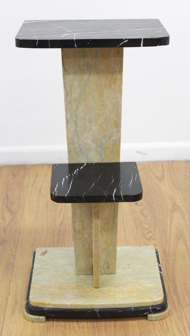 2-Tier 2-Color Marble Pedestal
