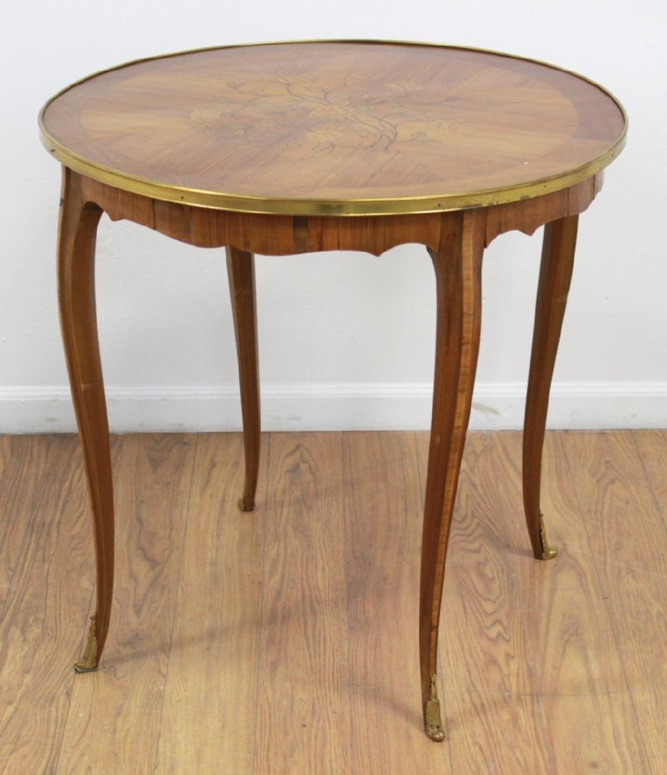 French Inlaid Satin Round Center Table