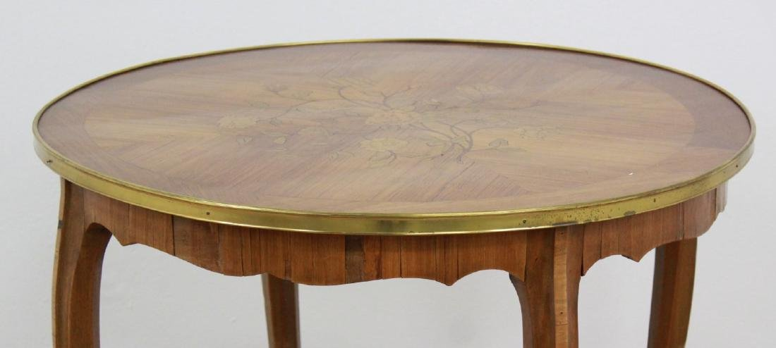French Inlaid Satin Round Center Table - 2