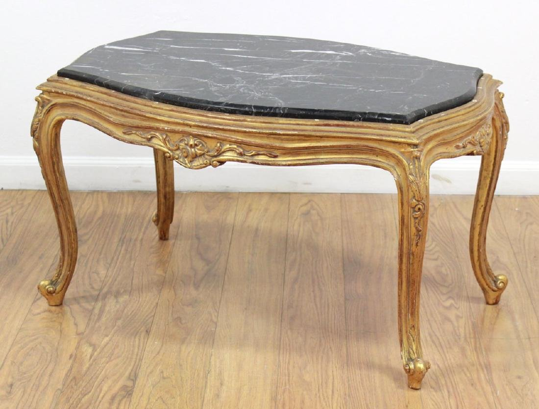 Louis XV Style Gold Leaf Marble Top Coffee Table