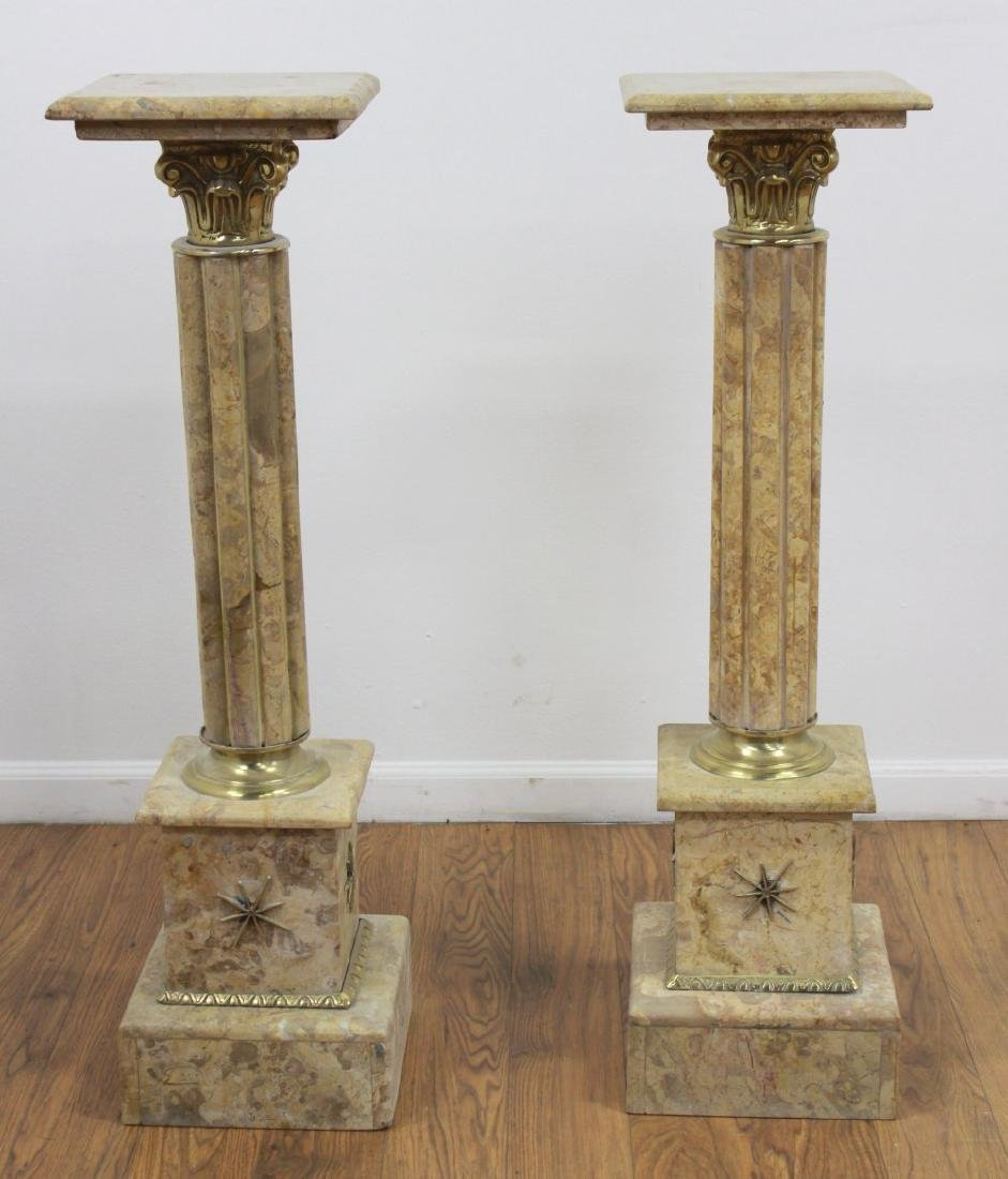Pair Beige Marble Pedestals with Bronze Ormolu