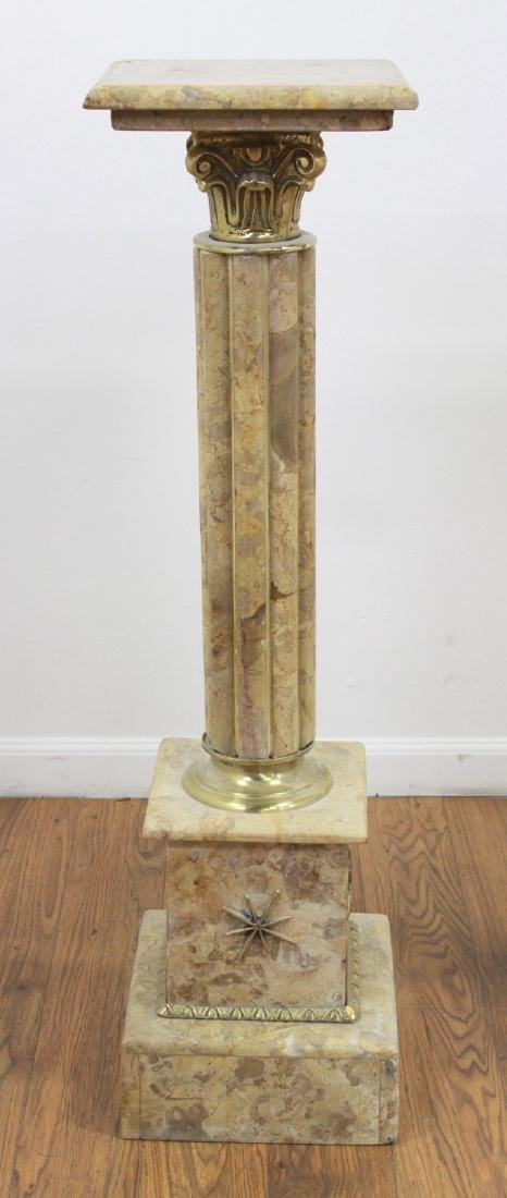 Pair Beige Marble Pedestals with Bronze Ormolu - 3
