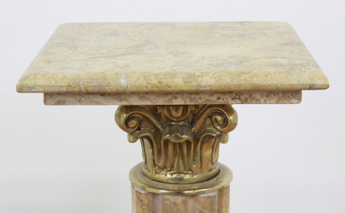 Pair Beige Marble Pedestals with Bronze Ormolu - 4