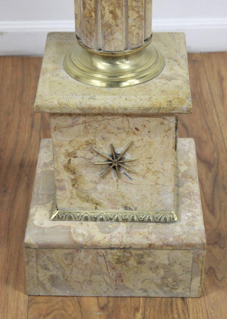 Pair Beige Marble Pedestals with Bronze Ormolu - 5