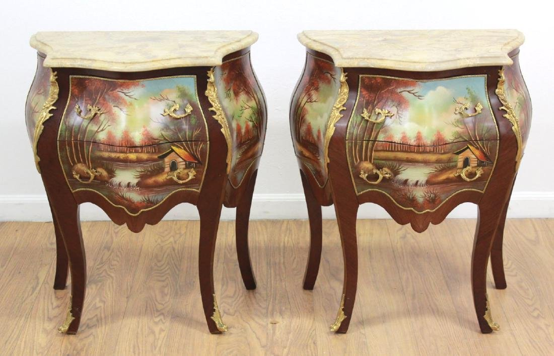 Pair Handpainted 2-Drawer Marble Top Commodes