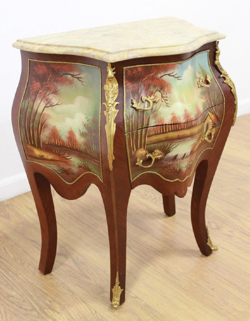 Pair Handpainted 2-Drawer Marble Top Commodes - 2