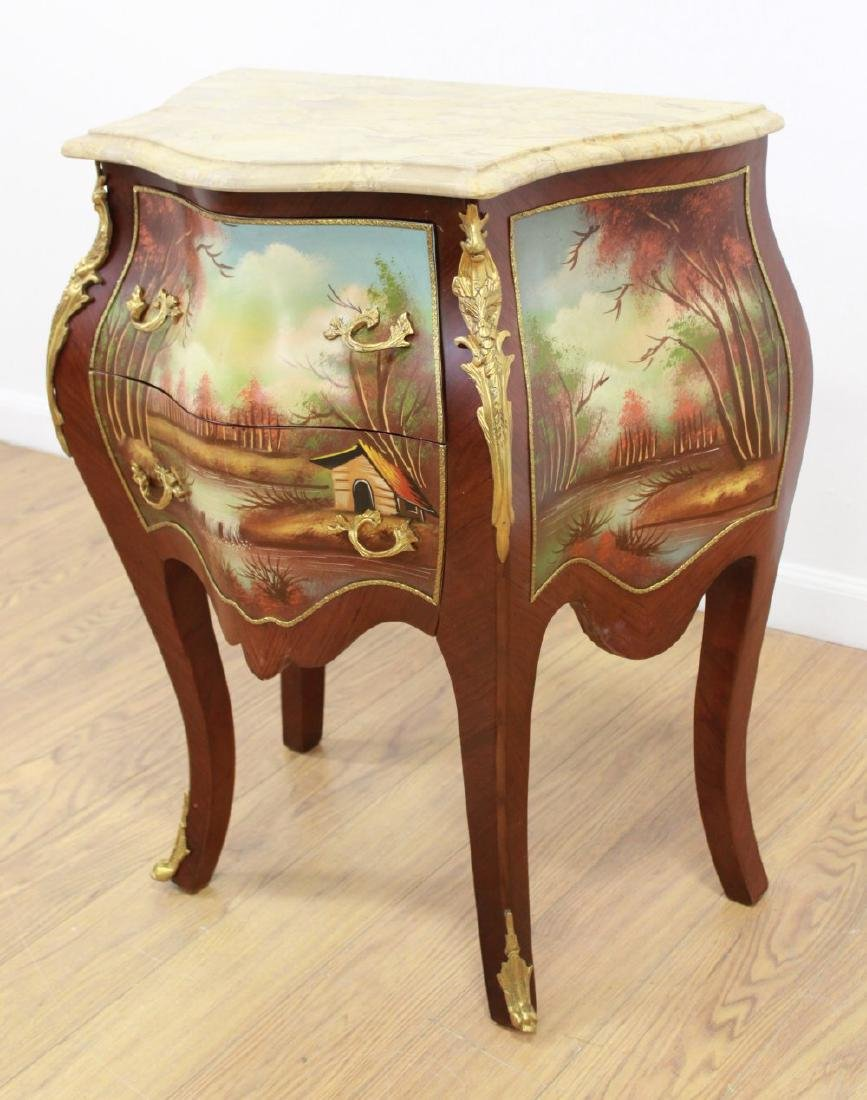 Pair Handpainted 2-Drawer Marble Top Commodes - 3