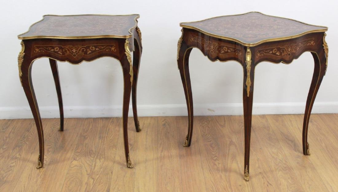 Pair Louis XV Style Inlaid Marquetry End Tables
