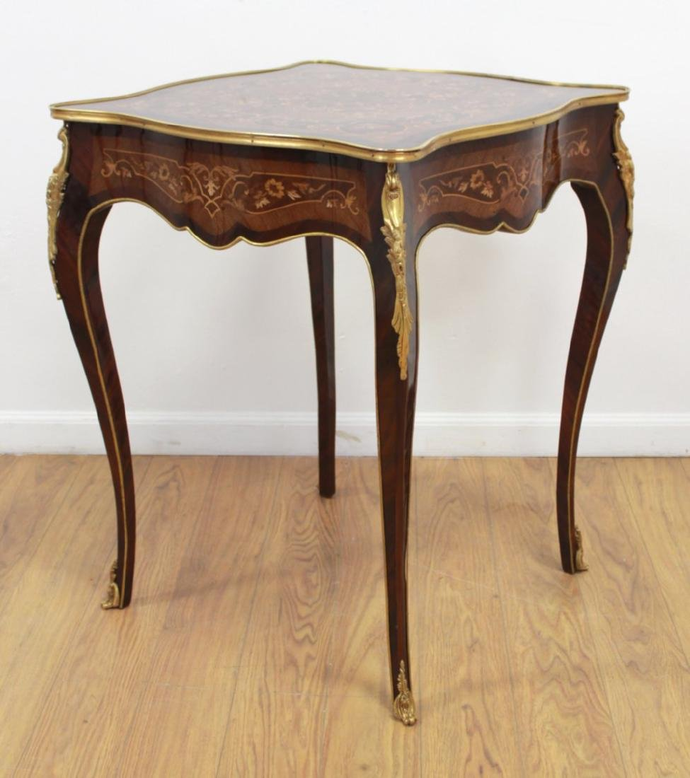 Pair Louis XV Style Inlaid Marquetry End Tables - 2