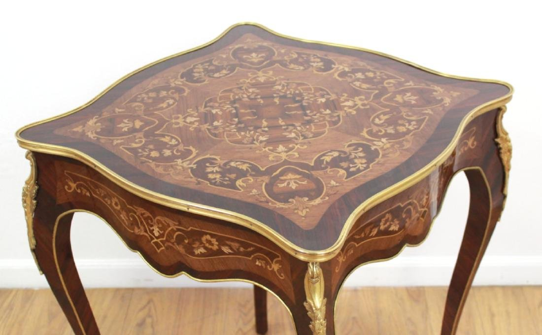Pair Louis XV Style Inlaid Marquetry End Tables - 3