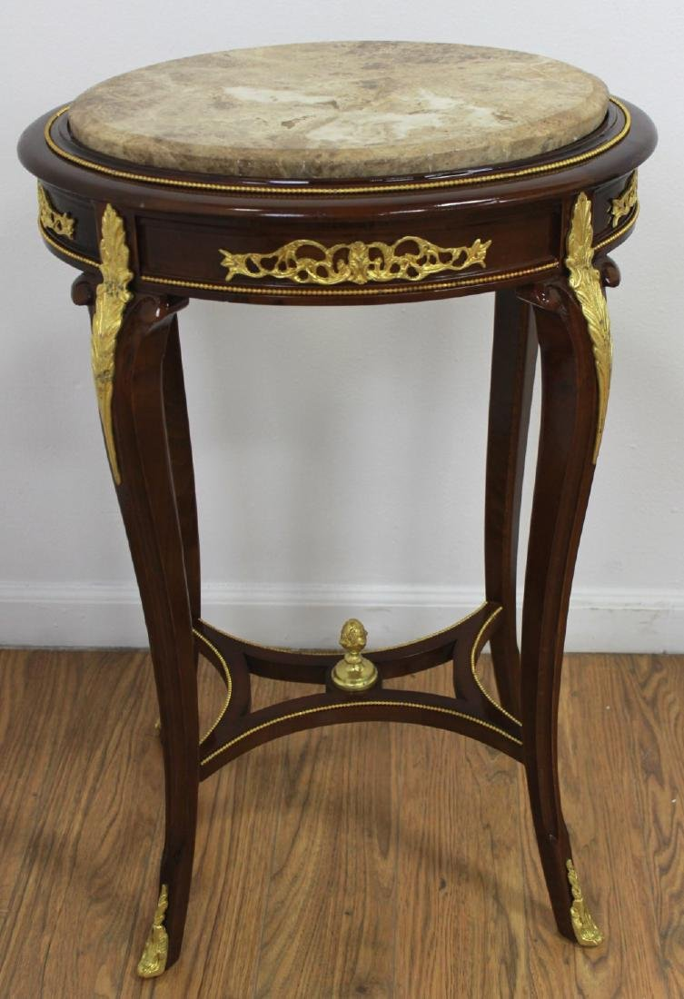 Pair Louis XV Style Marble Top End Tables - 2