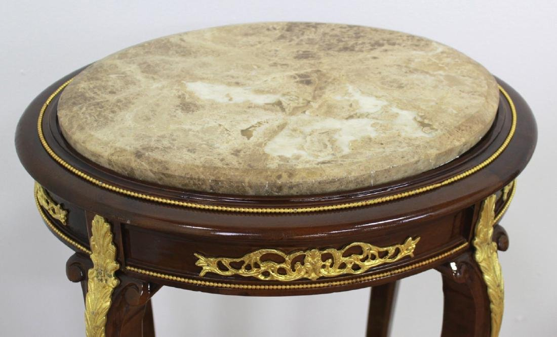 Pair Louis XV Style Marble Top End Tables - 3