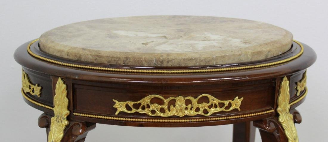 Pair Louis XV Style Marble Top End Tables - 4