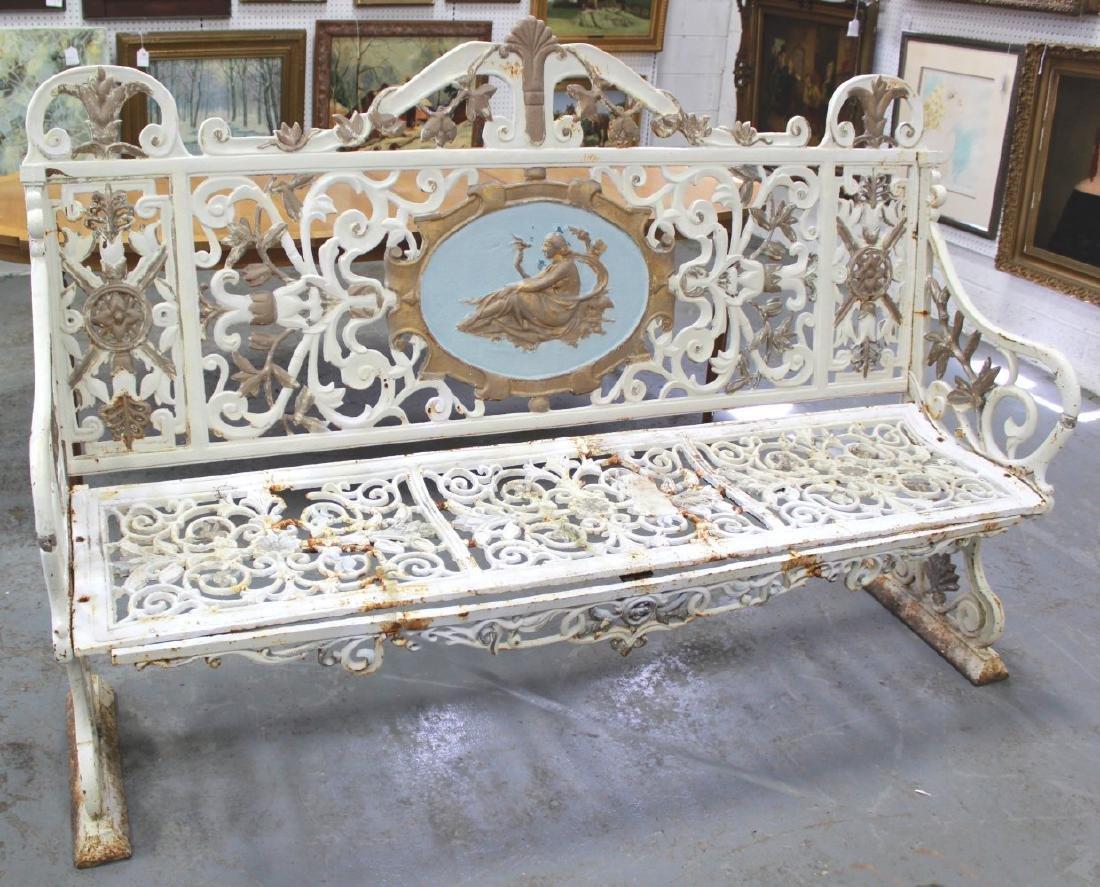 :Louis XVI Style Victorian Cast Iron Bench