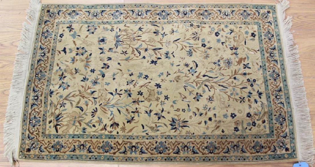 Semi-Antique Fine Silk & Wool Nain Rug/Carpet