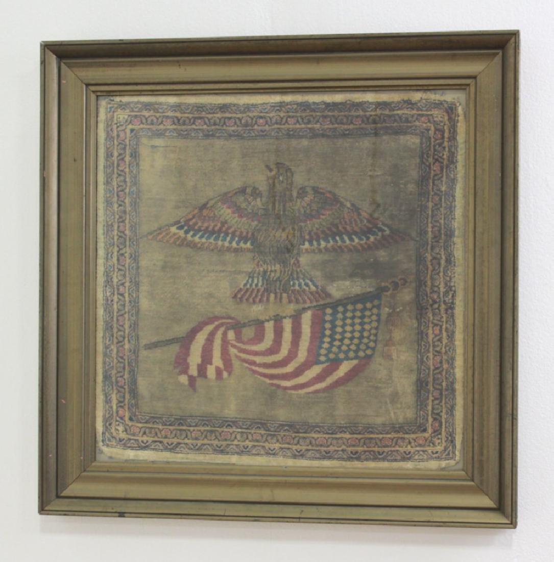 Persian Silk Carpet of American Eagle & Flag