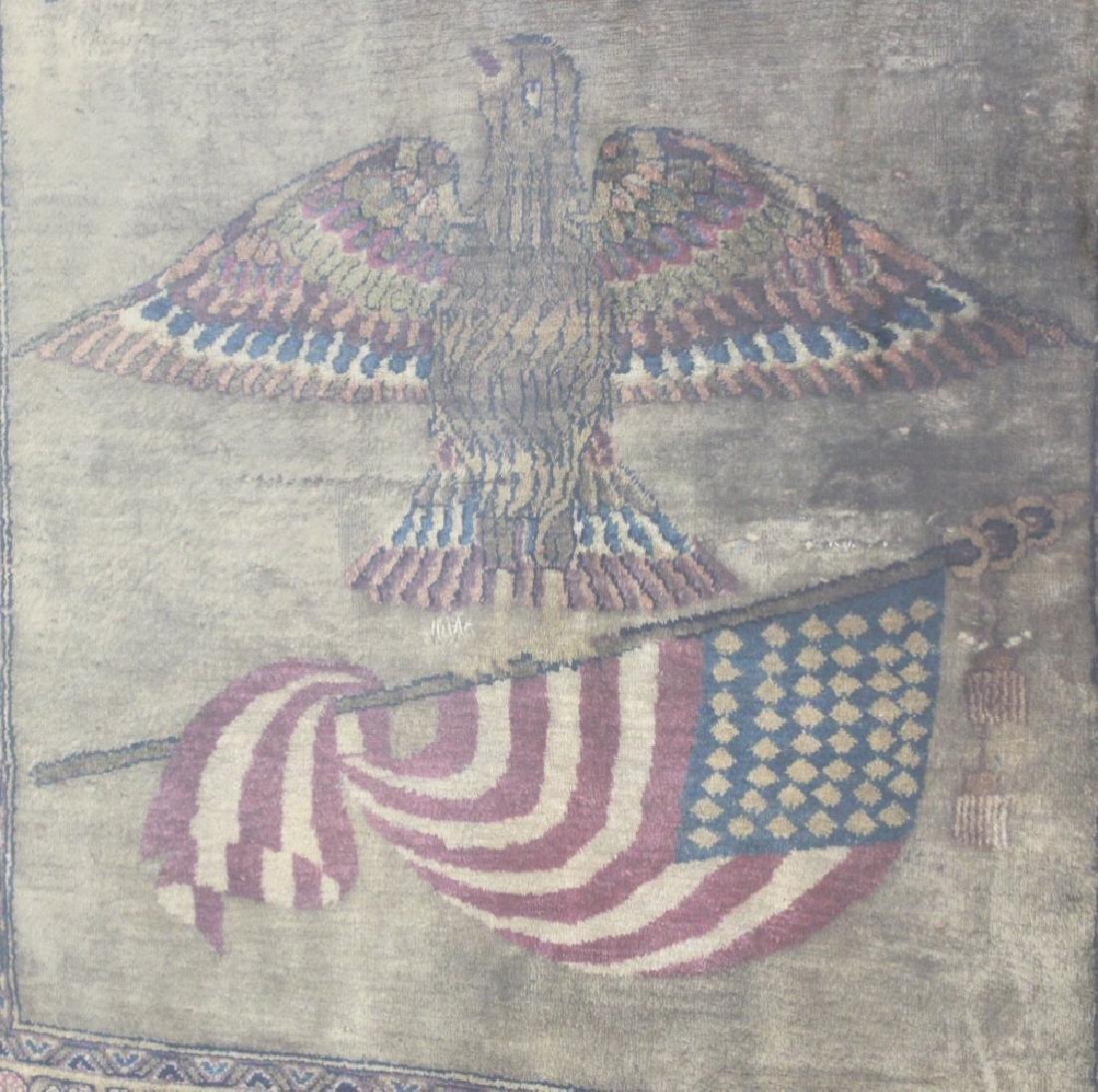 Persian Silk Carpet of American Eagle & Flag - 2