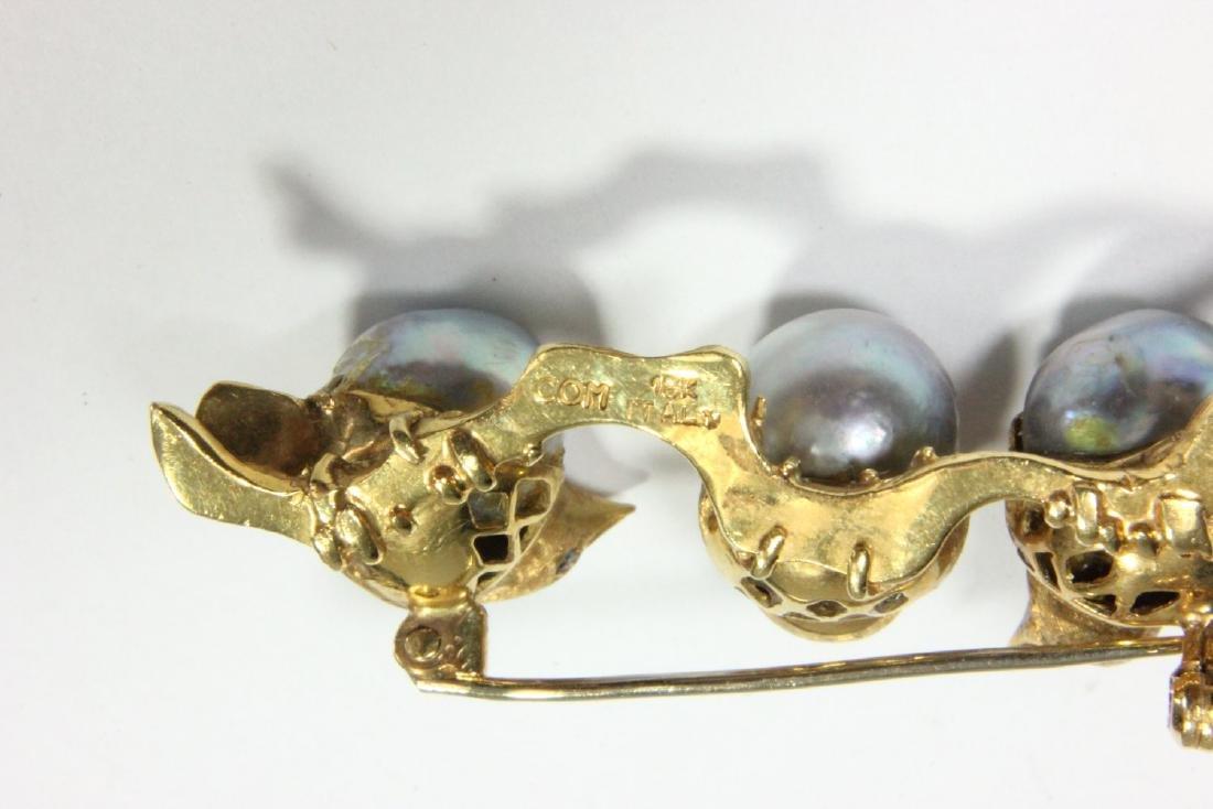 Italian 18K Yellow Gold & Pearl 3 Chick Pin - 2