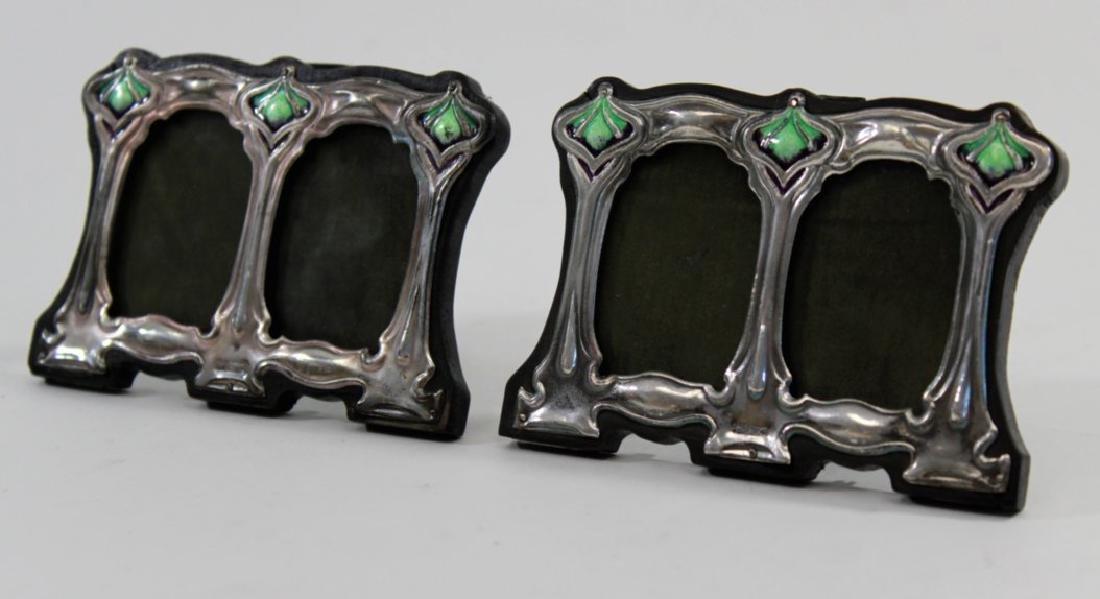 Pair Miniature Silver & Enamel Double Frames