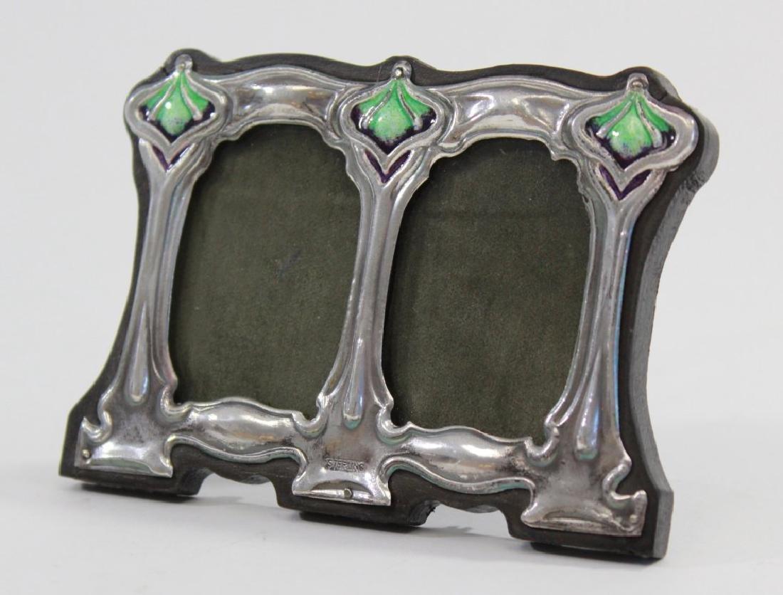Pair Miniature Silver & Enamel Double Frames - 2
