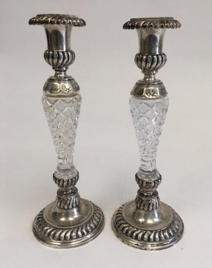 Pair German 800 Silver & Cutglass Candlesticks