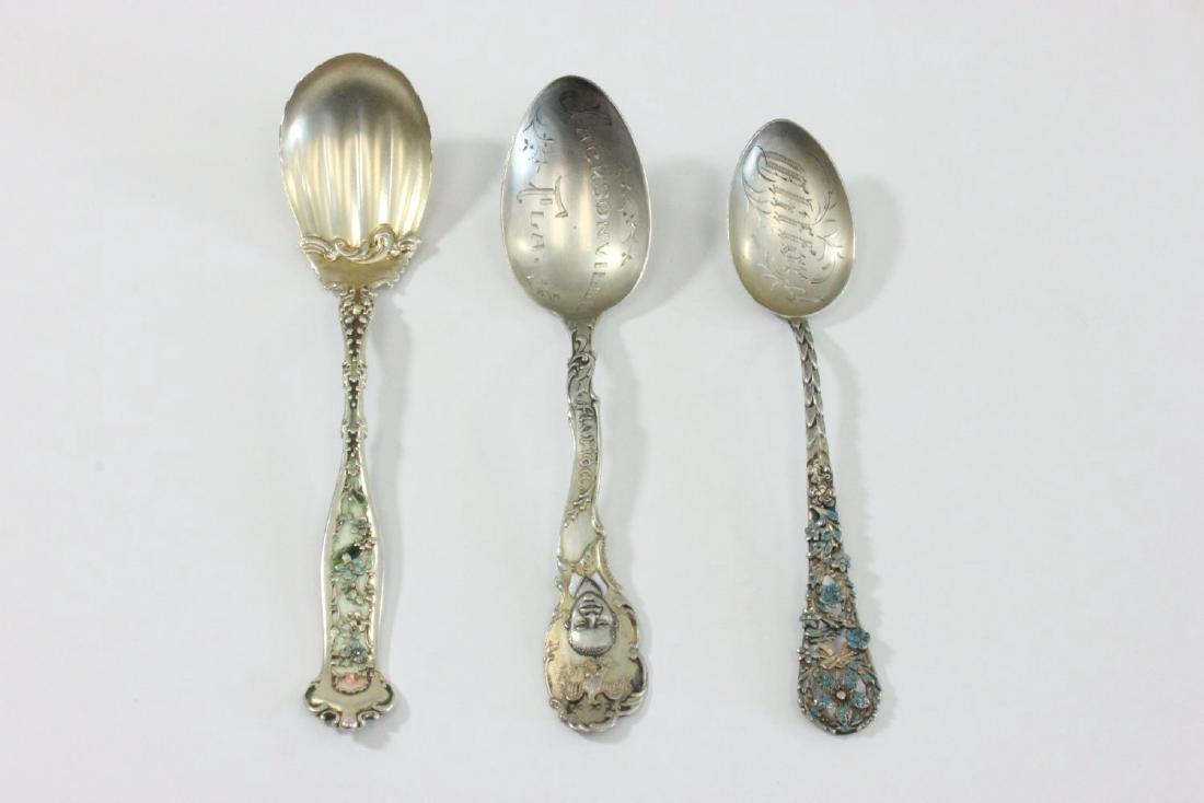 3 Sterling Silver & Enamel Spoons