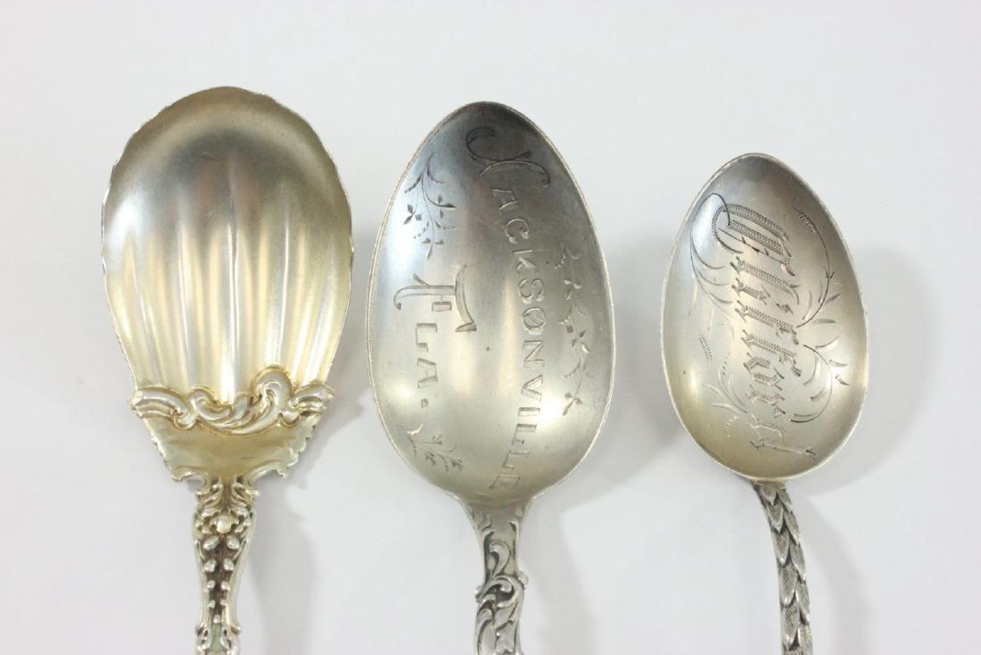 3 Sterling Silver & Enamel Spoons - 2