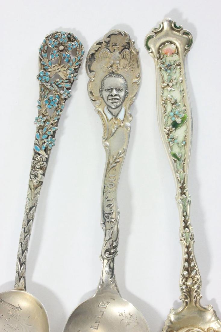 3 Sterling Silver & Enamel Spoons - 3