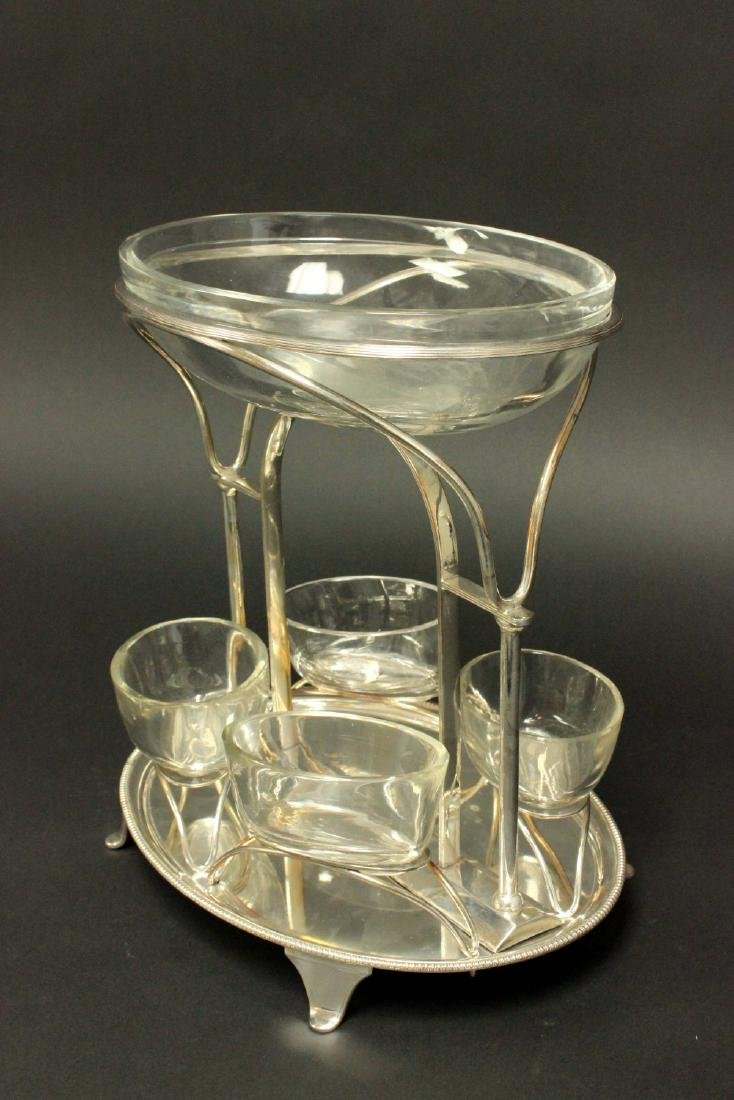 Silverplated Centerpiece with Glass Inserts