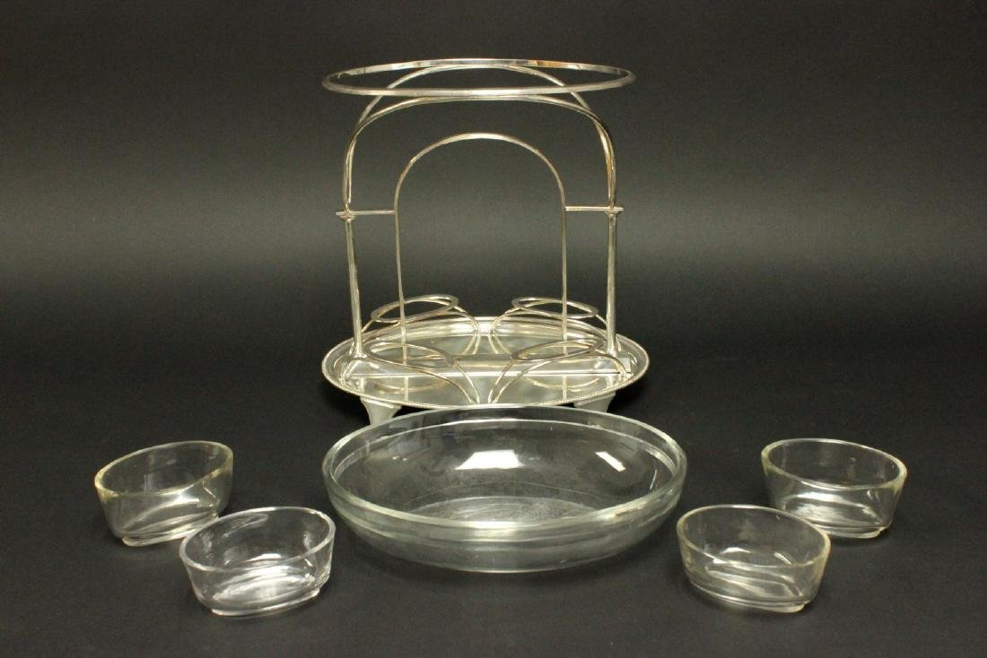 Silverplated Centerpiece with Glass Inserts - 2