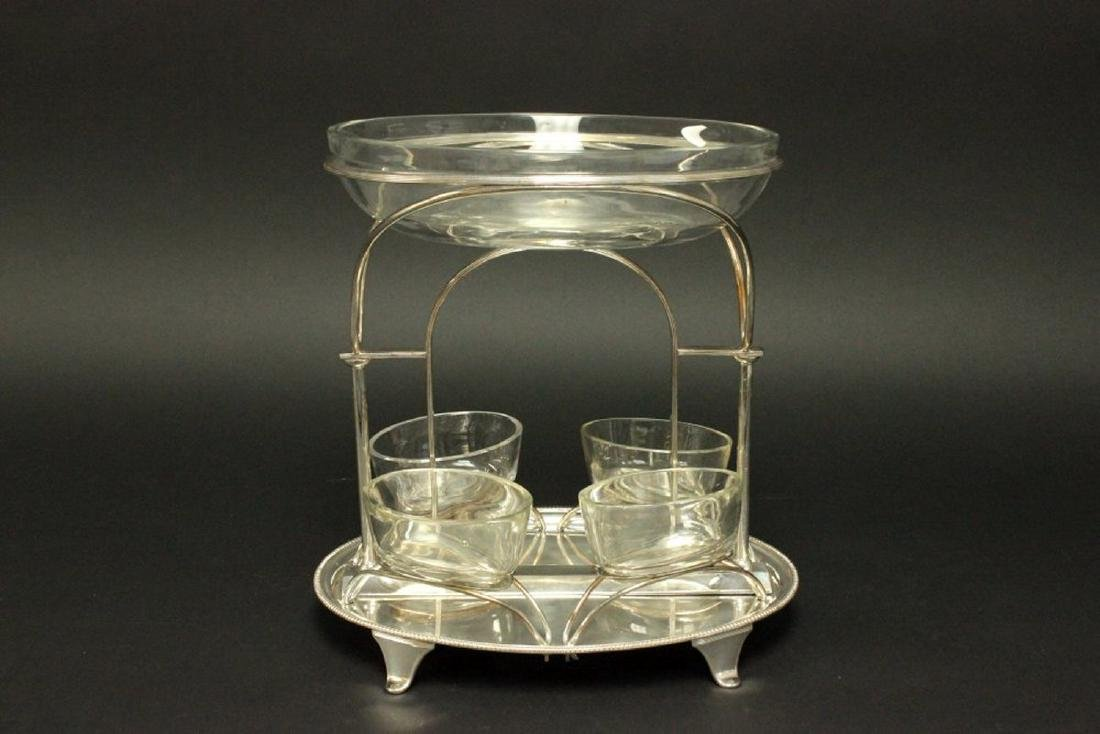 Silverplated Centerpiece with Glass Inserts - 3