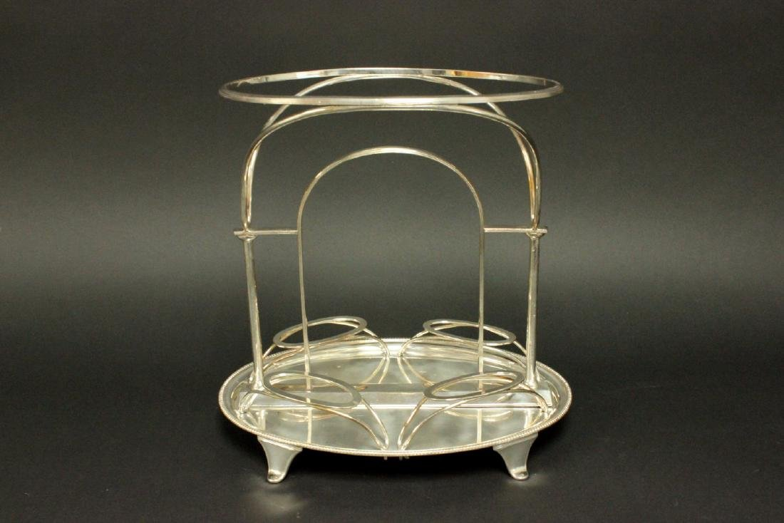 Silverplated Centerpiece with Glass Inserts - 4