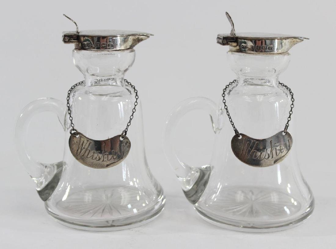 Pair English Silver & Crystal Decanters - 2