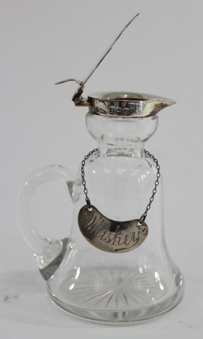 Pair English Silver & Crystal Decanters - 7