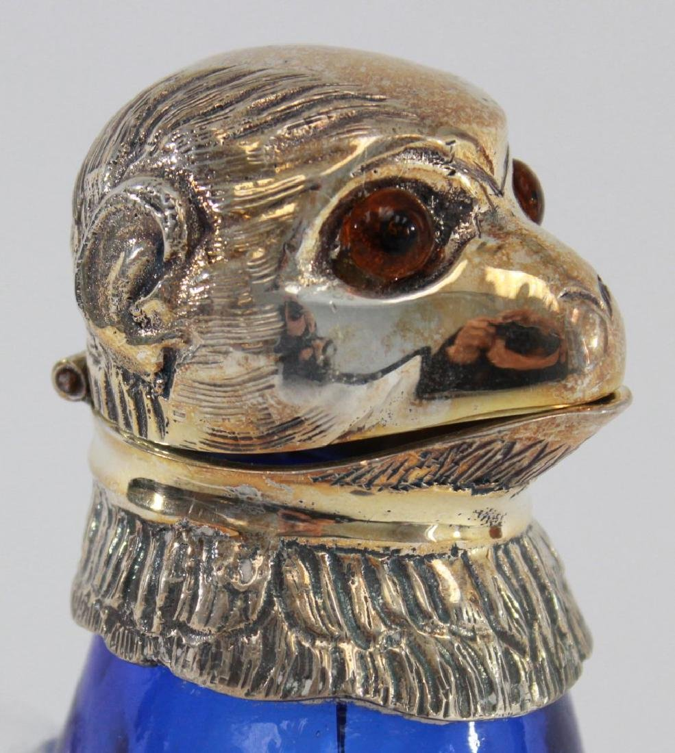 Silverplate & Cobalt Glass Seated Monkey Decanter - 2