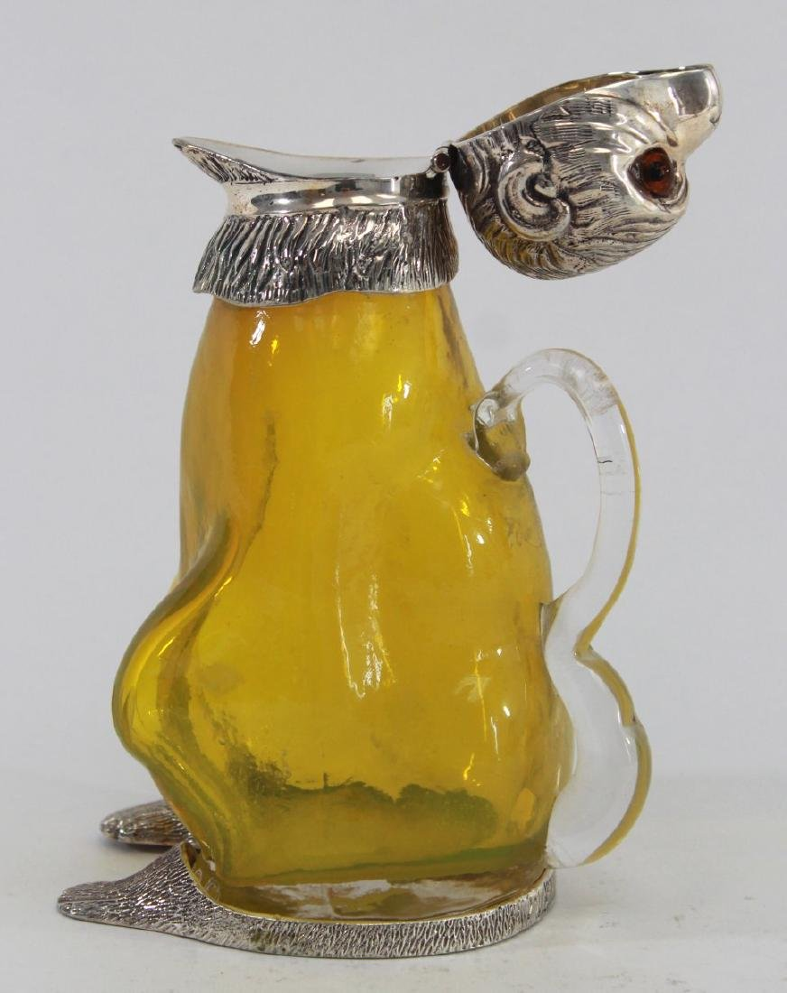 Silverplate & Yellow Glass Seated Monkey Decanter - 3