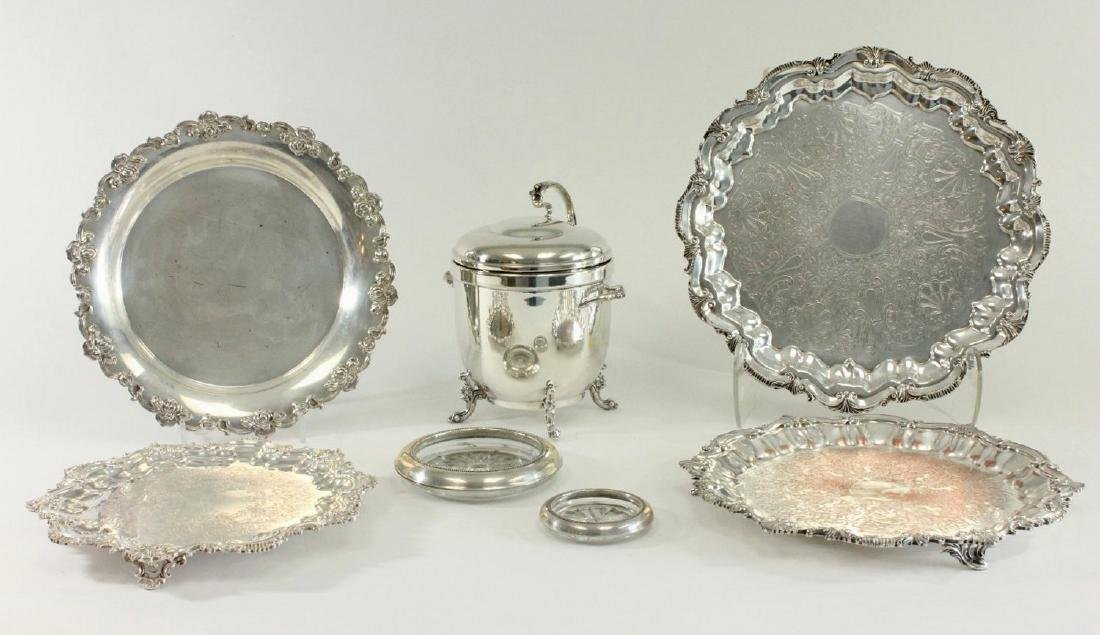 Group Lot of Silverplated Trays, Bucket & Coasters