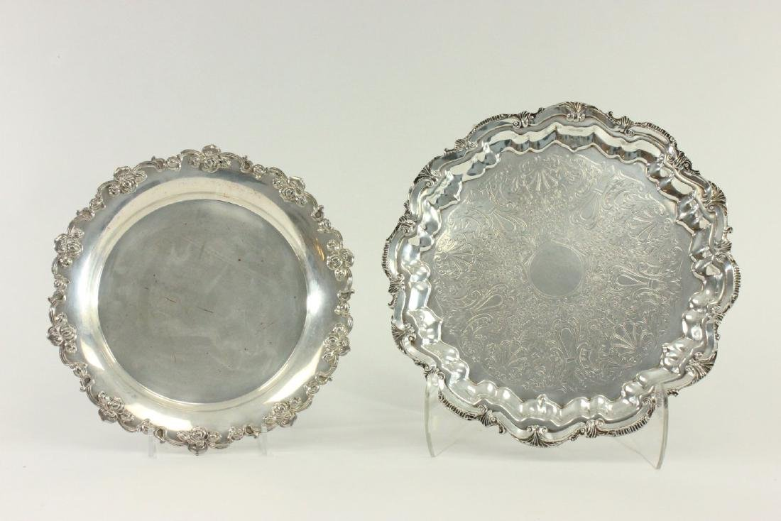 Group Lot of Silverplated Trays, Bucket & Coasters - 2