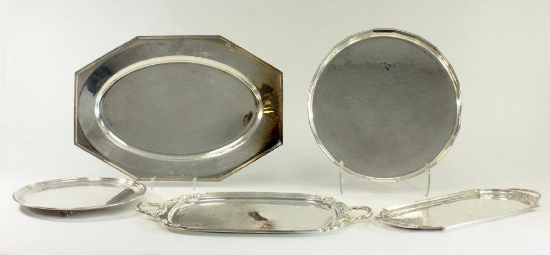 Lot of 5 Silverplated Trays