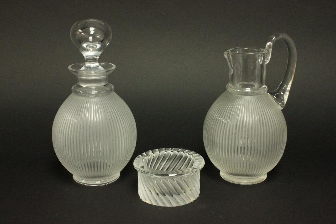 Lalique Pitcher, Decanter, & Ashtray
