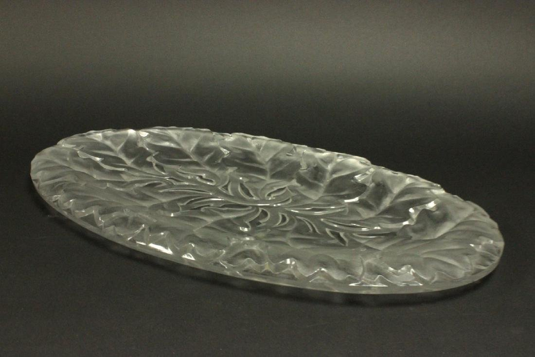Lalique Large Oval Chene Clear & Frosted Tray