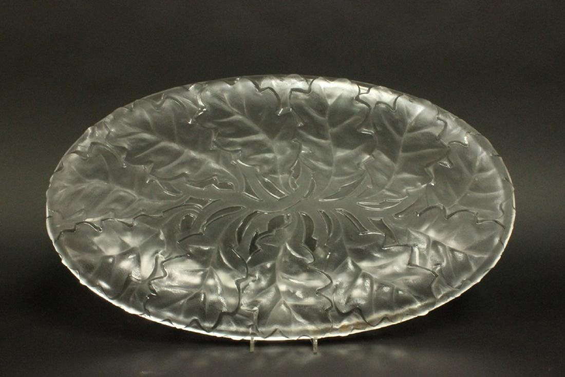 Lalique Large Oval Chene Clear & Frosted Tray - 2