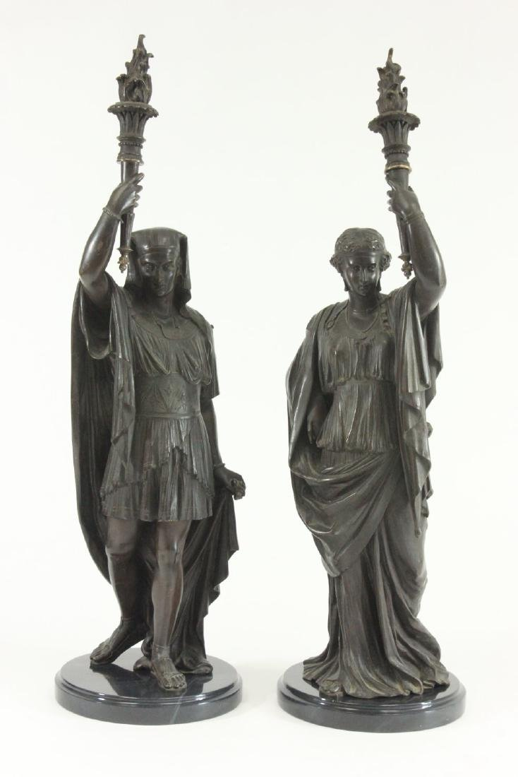 Pair Bronze Egyptian Revival Figural Sculptures