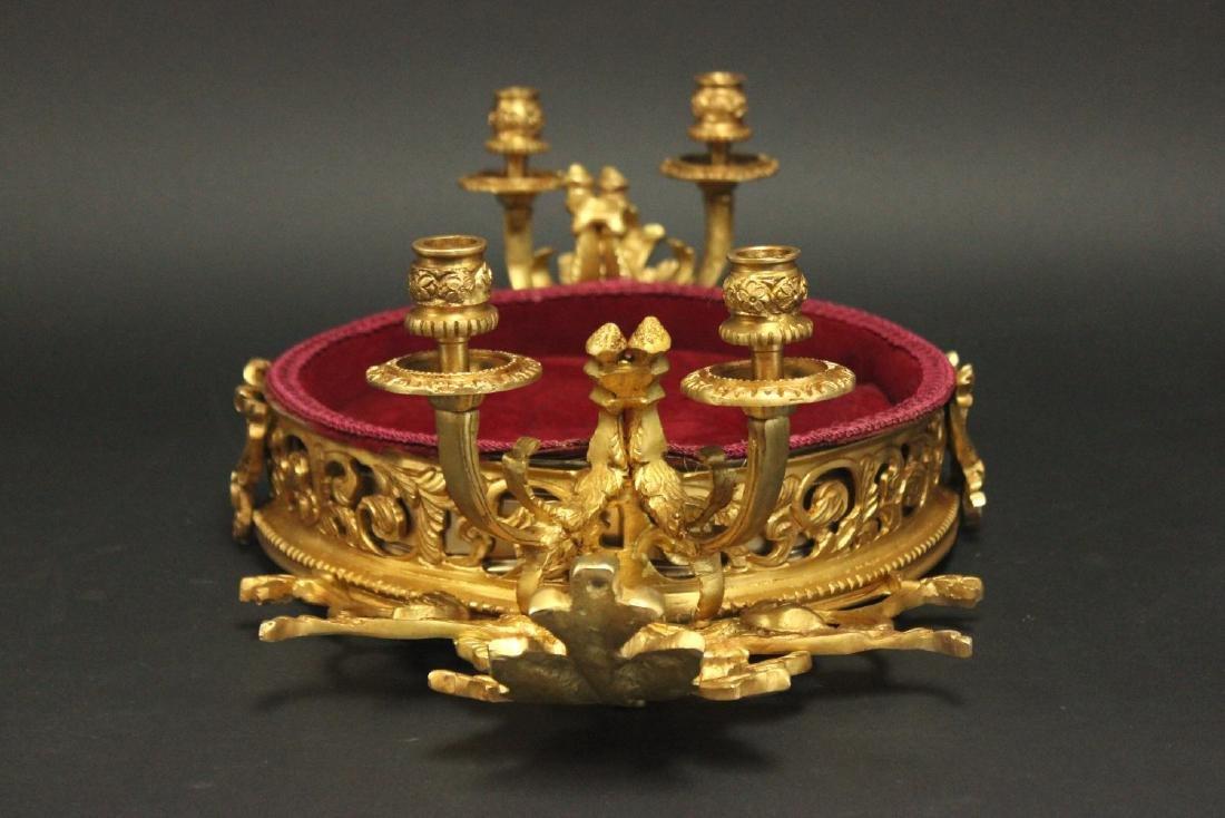 Rococo Style Bronze & Tufted Velvet Jewelry Tray - 4